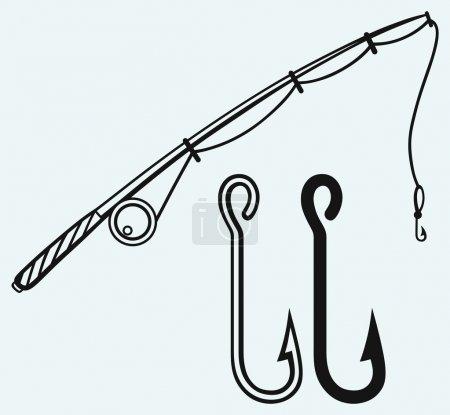 Illustration pour Canne à pêche et hameçon. Isolé sur fond bleu - image libre de droit