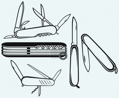 Illustration for Swiss army knife. Isolated on blue background - Royalty Free Image