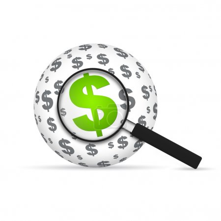 Photo for Dollar Sign Sphere with magnifying glass on white background. - Royalty Free Image