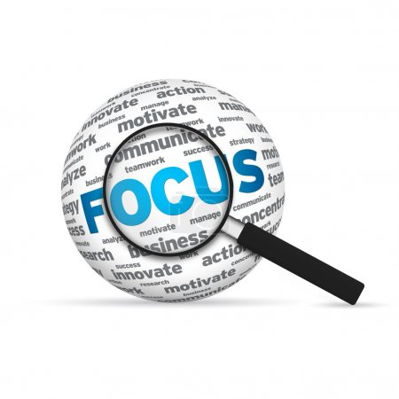 Photo for Focus 3d Word Sphere with magnifying glass on white background. - Royalty Free Image