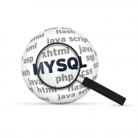 Photo for Mysql 3d Sphere with magnifying glass on white background. - Royalty Free Image