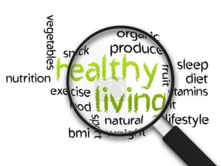 Photo for Magnified Healthy Living word illustration on white background. - Royalty Free Image