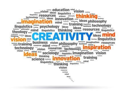 Illustration pour Illustration de bulle de discours créativité mot sur fond blanc. - image libre de droit