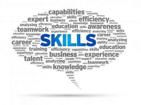 Skills Word speech bubble illustration on white ba...