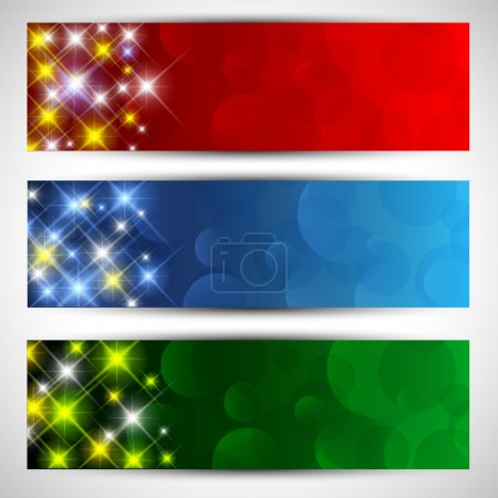 Photo for Decorative Christmas banners with a starry design - Royalty Free Image