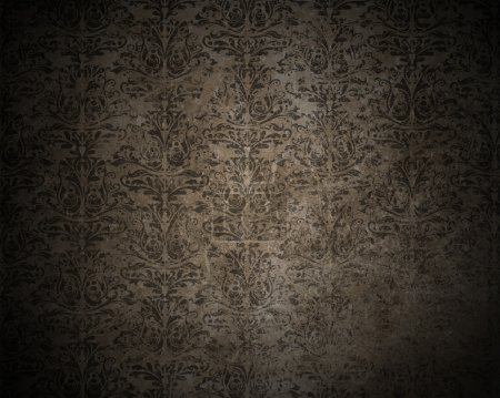 Photo for Detailed dark grunge background with a Damask design - Royalty Free Image