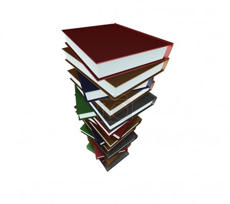 Photo for 3D render of a stack of books - Royalty Free Image