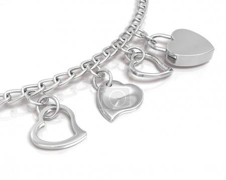 Photo pour Rendu 3D de bracelet coeur - image libre de droit