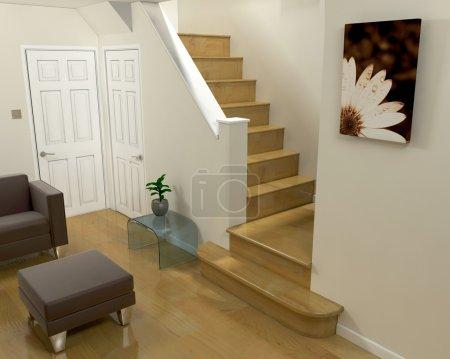 Photo pour Rendu 3D d'une vue intérieure d'un salon et d'escaliers - image libre de droit