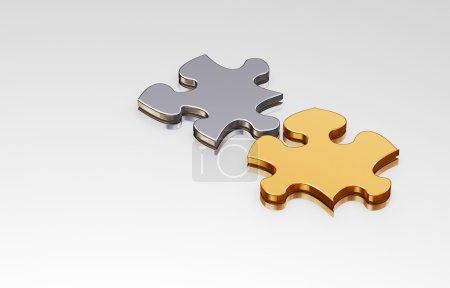 Photo pour Rendu 3D de pièces de puzzle de connexion - image libre de droit