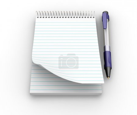 Photo for 3D render of a notepad with a pen - Royalty Free Image