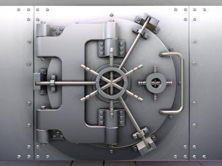 Photo pour Rendu 3D d'un coffre-fort bancaire - image libre de droit
