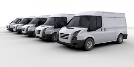 Photo for 3D render of a fleet of delivery vans - Royalty Free Image
