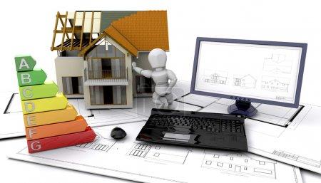 Foto de 3D calificaciones de energía de una casa en construcción - Imagen libre de derechos