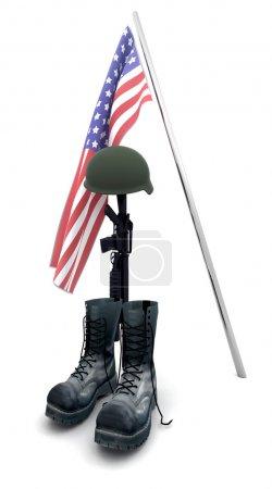 Photo pour Rendre 3d hommage soldat tombé - image libre de droit