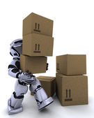 robot se déplaçant de boîtes d'expédition