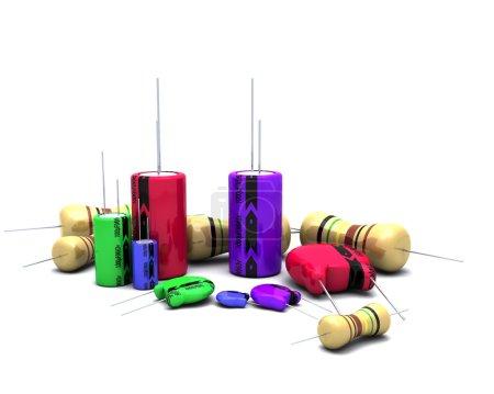 Photo for 3D Render of Capacitors Resistors and semi-conductors - Royalty Free Image