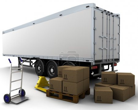 freight trailer and shipping boxes