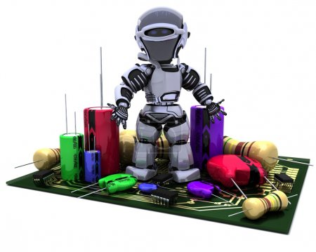Photo for 3D Render of a Robot With Capacitors Resistors and semi-conductors - Royalty Free Image