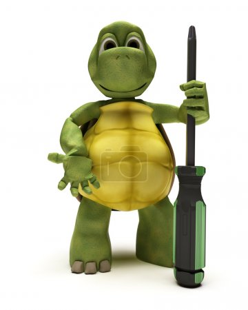 Photo for 3D render of a Tortoise with a screwdriver - Royalty Free Image