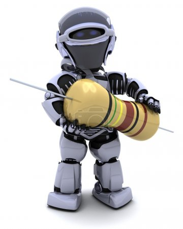 Photo for 3D Render of a Robot with a resistor - Royalty Free Image