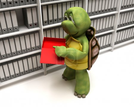 Photo for 3D Render of a Tortoise filing documents - Royalty Free Image