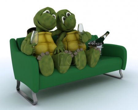 tortoises on a sofa drinking champagne