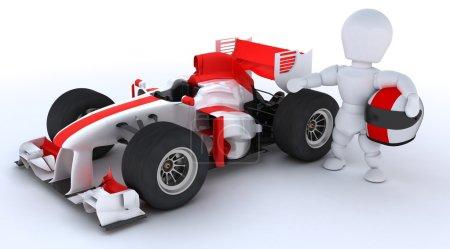 человек с гоночный автомобиль