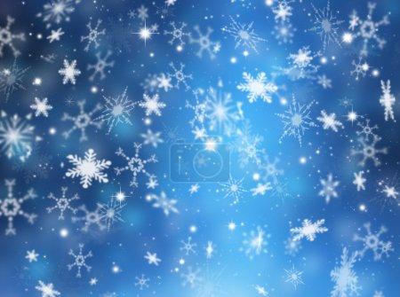Foto de Fondo de Navidad con copos de nieve y las estrellas - Imagen libre de derechos