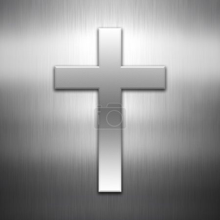 Cross shape on a brushed metal background