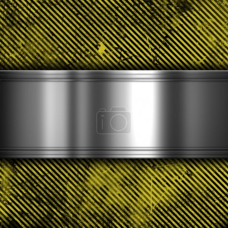 metal on grunge striped background