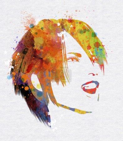 Photo pour Visage féminin souriant avec un effet aquarelle grunge - image libre de droit