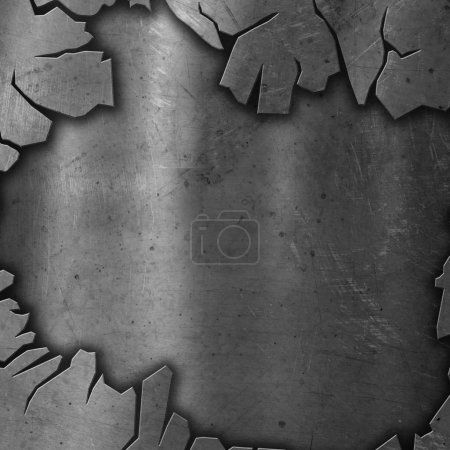 Photo pour Fond métallique fissuré avec sous-couche grunge rouge - image libre de droit