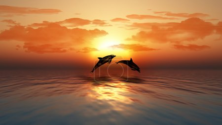 Sunset ocean with dolphins jumping