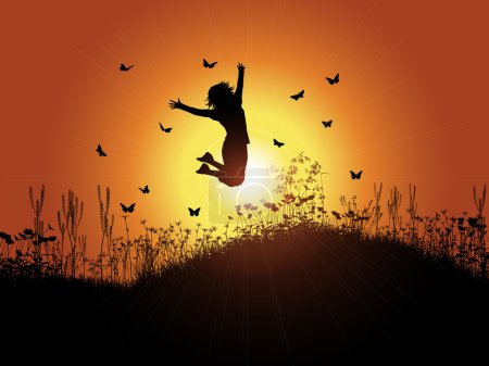 Illustration for Silhouette of a woman jumping against a sunset background with grass and flowers - Royalty Free Image