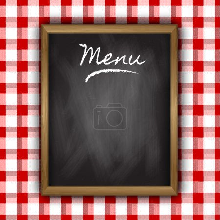 Illustration for Chalkboard menu design on a gingham patterned background - Royalty Free Image