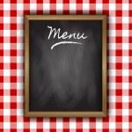 Chalkboard menu design on a gingham patterned back...
