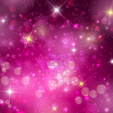 Illustration for Pink Christmas background with bokeh lights, snowflakes and stars - Royalty Free Image