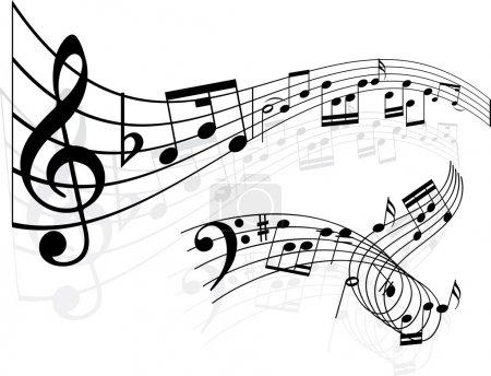 Illustration pour Notes de musique milieux - image libre de droit