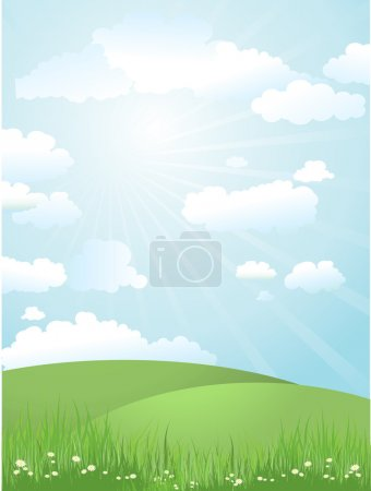 Illustration for Grassy landscape on a sunny day - Royalty Free Image