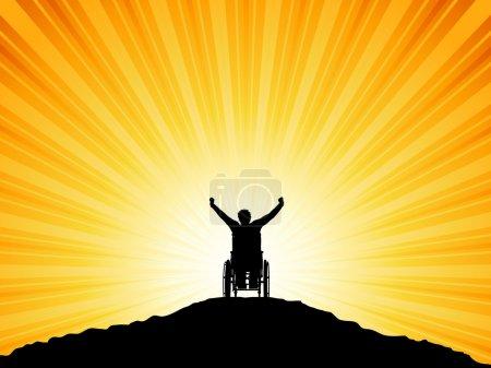 Illustration pour Silhouette d'un homme en fauteuil roulant les bras levés avec succès - image libre de droit