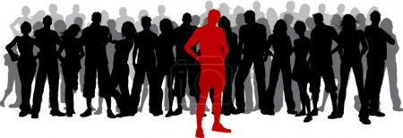 Illustration for Silhouette of a huge crowd of people with one person standing out in red - Royalty Free Image