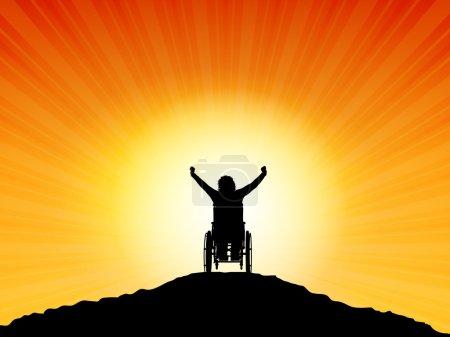 Illustration pour Silhouette d'une femme en fauteuil roulant les bras levés avec succès - image libre de droit