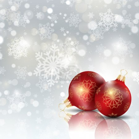Illustration for Christmas baubles on a snowflake and stars design - Royalty Free Image