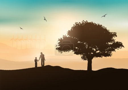 Illustration for Silhouette of a father and son walking in the countryside - Royalty Free Image