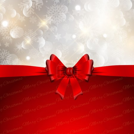 Illustration for Decorative Christmas background with a glossy red bow and snowflakes design - Royalty Free Image