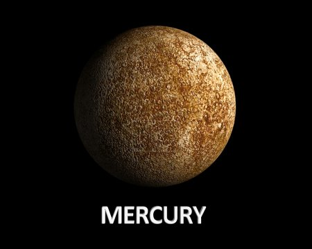 A rendering of the Planet Mercury on a clean black...