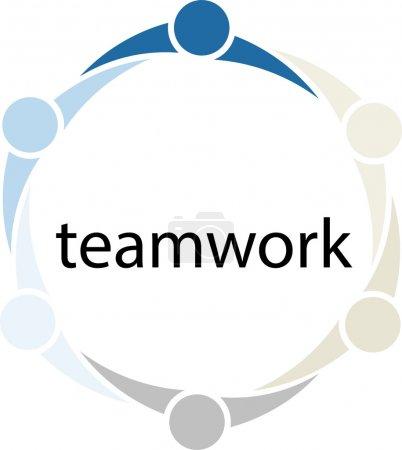 Photo pour Illustration conceptuelle de personnes uniques et différentes dans un cercle avec le mot travail d'équipe à l'intérieur du cercle . - image libre de droit
