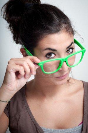 beautiful girl with green eyeglasses