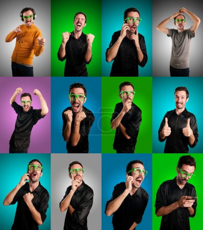 Set of men with different expressions on colorful backgrounds